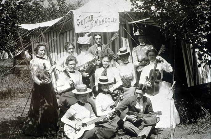 Historical Photo of Guitar and Mandolin players at Chautauqua