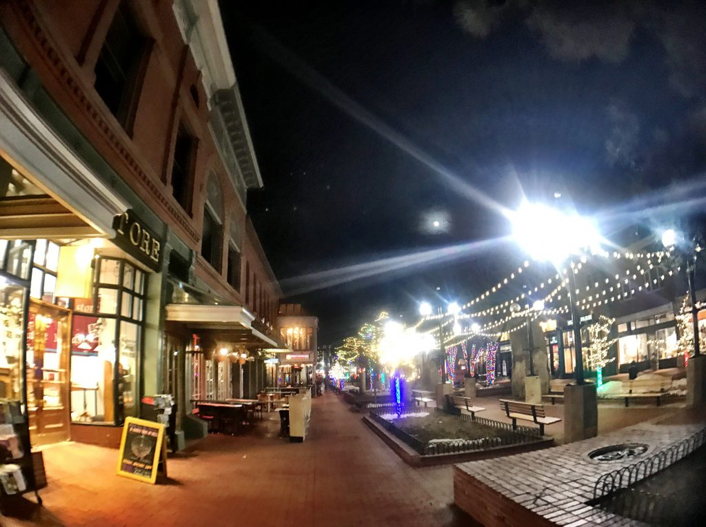 Pearl Street Mall at night