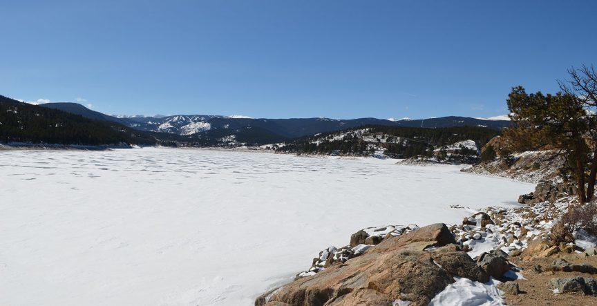 Barker Reservoir in winter.