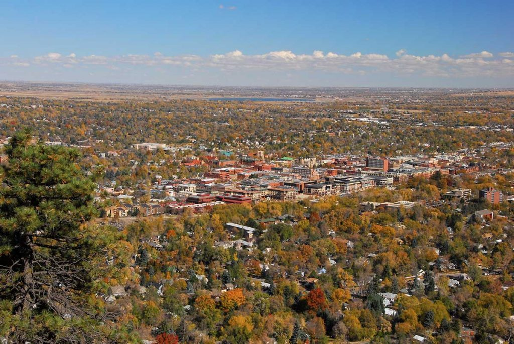 A view From Flagstaff of Downtown Boulder.
