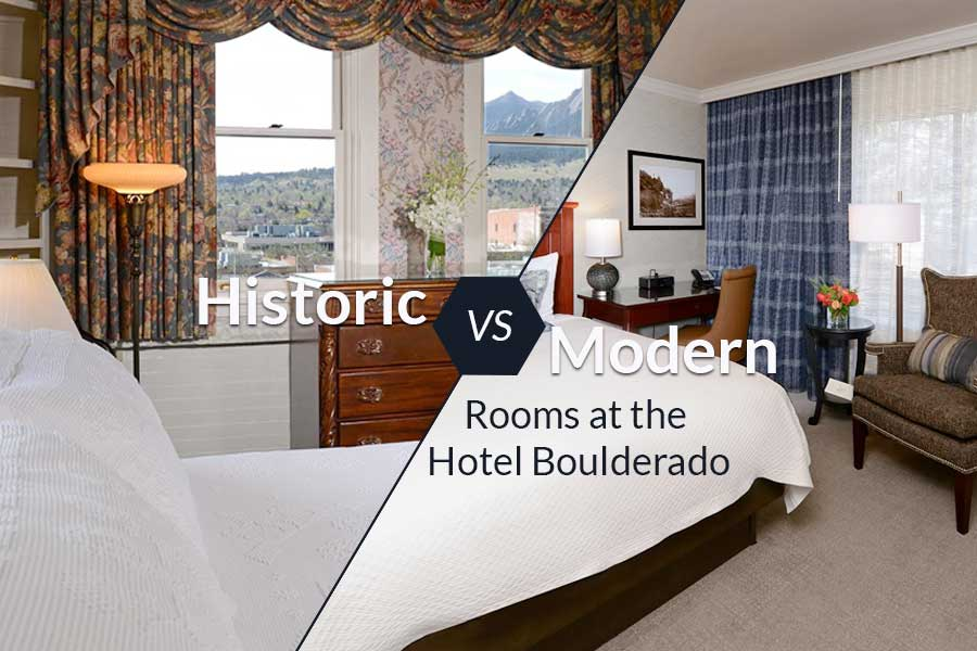 An historic and a modern room at the Hotel Boulderado