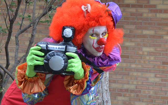 Clown with camera