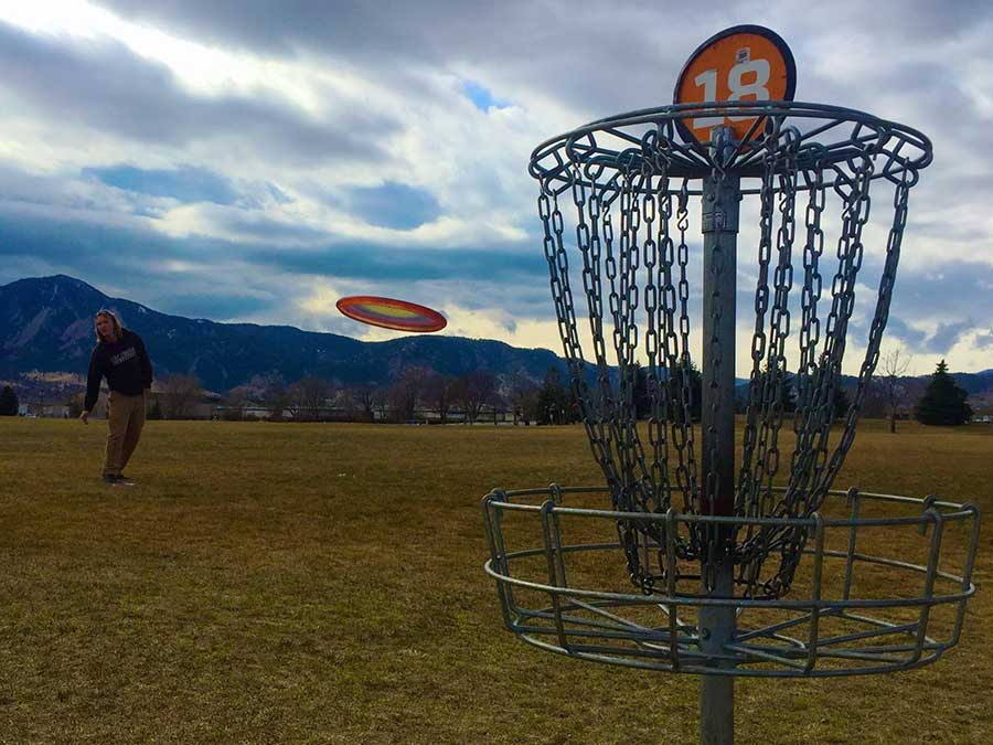 The last hole on the Valmont Disc Golf Course