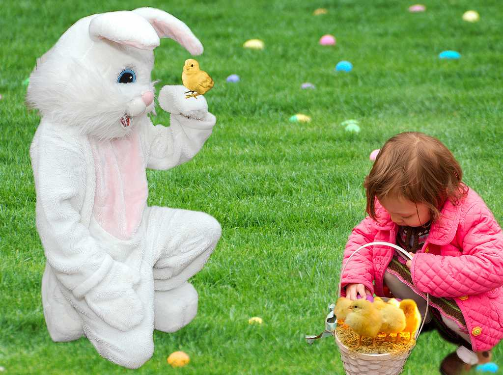 Easter Bunny with little girl and chicks