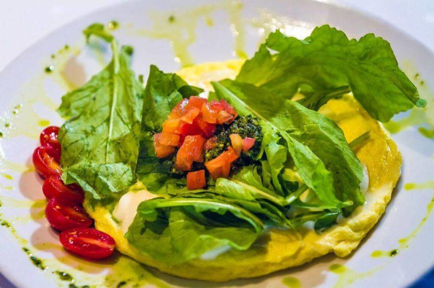 a gluten-free caprese omelette at Tangerine.