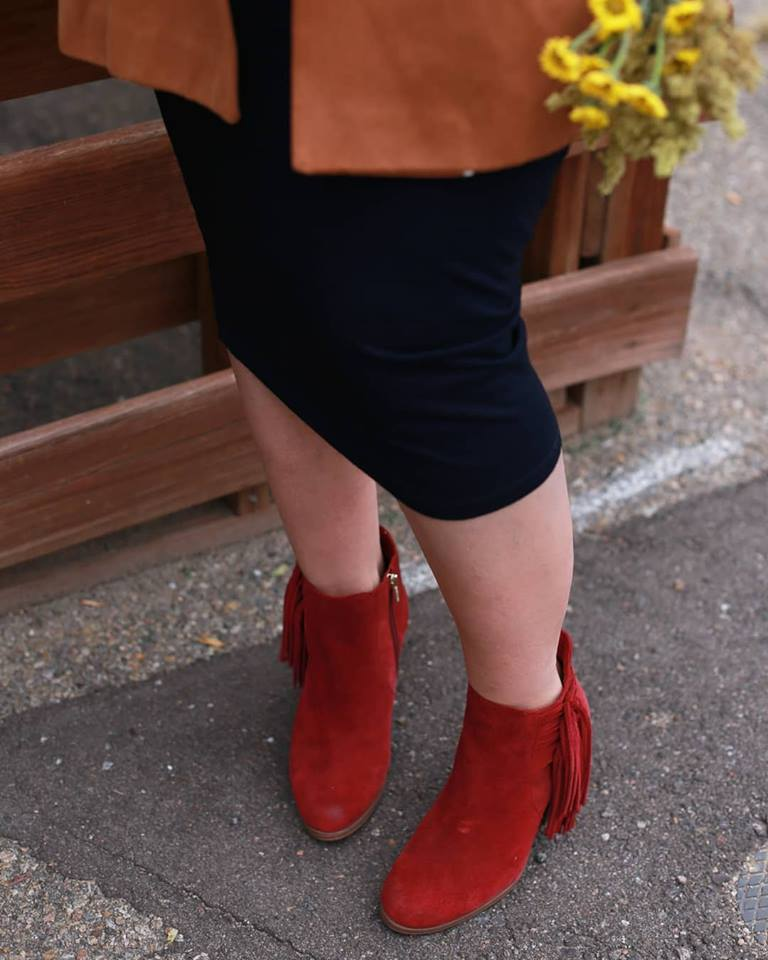 Red, fringe booties are in for winter fashion