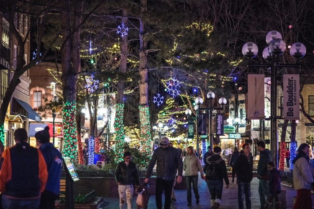 Boulder's Pearl Street Mall lit up for the holidays