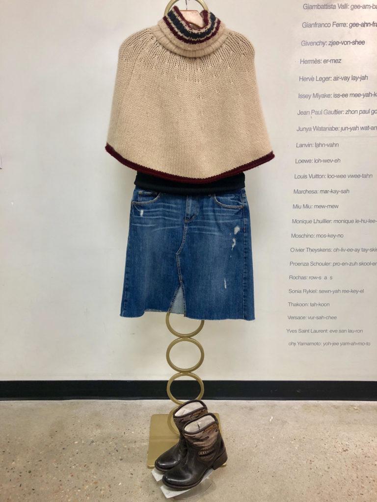 Winter fashion poncho and denim skirt